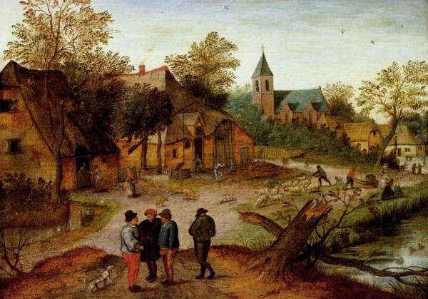 A Village Landscape With Farmers